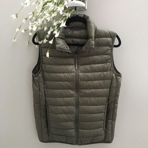 Army Green Down Feather Vest